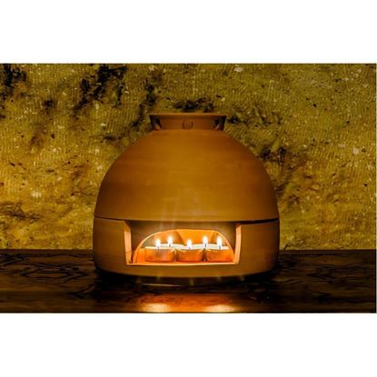 Resim Candle Stove-Dome Heat-25 cm Red Mud-Organic Home Heater-Pottery Stove
